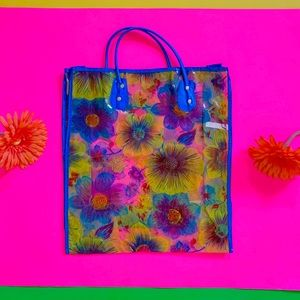 Vintage 60s clear vinyl flower power bag NOS